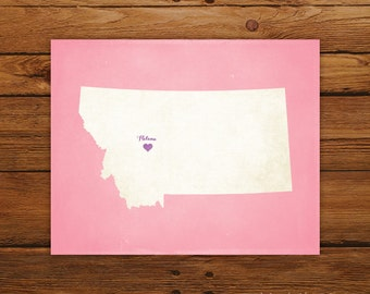 Customized Montana 8 x 10 State Art Print, State Map, Heart, Silhouette, Aged-Look Print