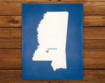 Customized Mississippi State Art Print, State Map, Heart, Silhouette, Aged-Look Personalized Print