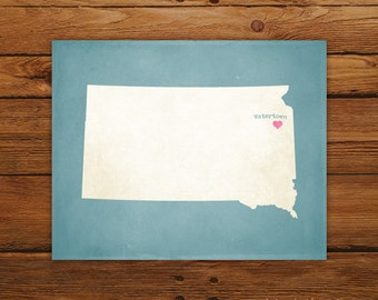 Customized South Dakota 8 x 10 State Art Print, State Map, Heart, Silhouette, Aged-Look Print