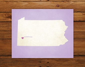Customized Printable Pennsylvania State Map - DIGITAL FILE, Aged-Look Personalized Wall Art