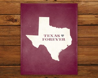 Printable Texas Forever State Map - DIGITAL FILE - Customized Aged Look Canvas Wall Art