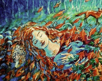 To Sleep Until Spring -Fine art print- of  Acrylic painting -  various sizes