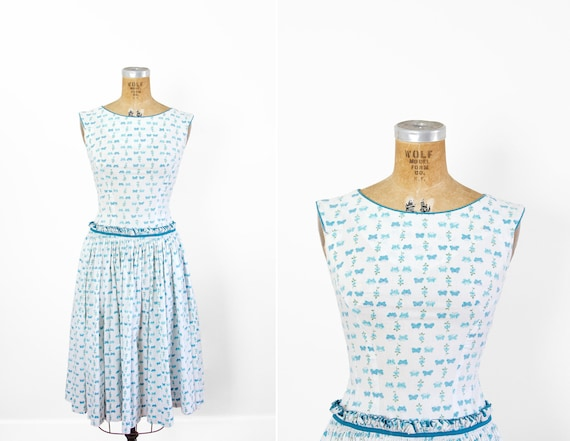 1950s Dress - 50s Dress - Butterfly Print Sleevele