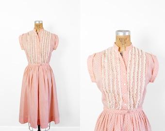 1950s Dress - 50s Dress - Pink And White Polka Dot Dress