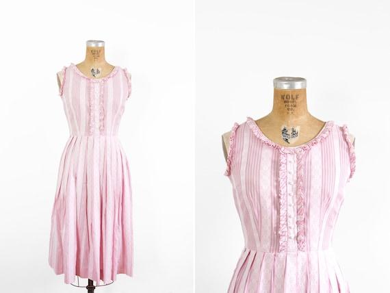 1950s Dress - 50s Dress - Pink Sleeveless Striped