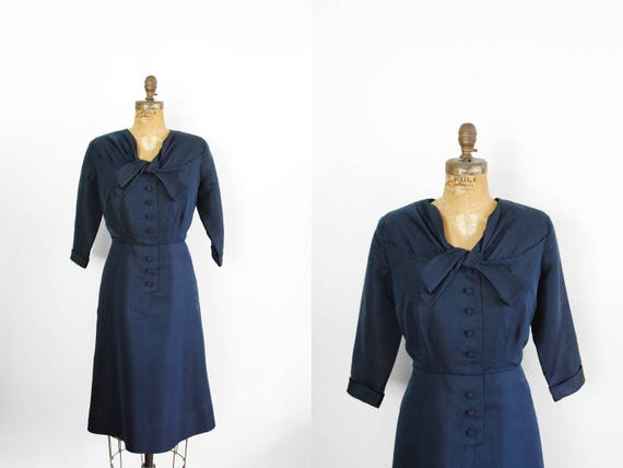 1950s Dress - 50s Dress - Navy Blue Saks Fifth Ave