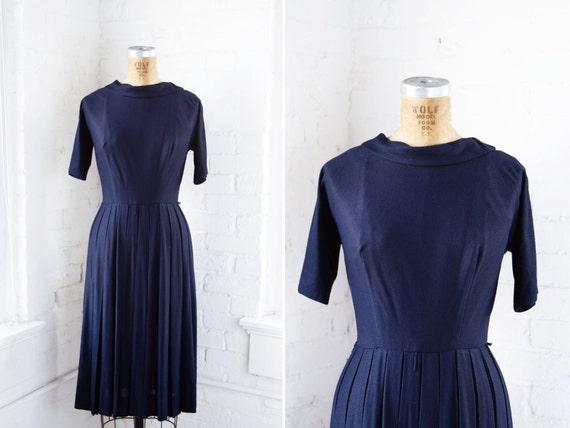 1950s Dress - 50s Dress - Navy Blue Rayon Crepe Pl