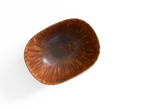 Midcentury Carl Harry Stålhane Ceramic Bowl by Rörstrand Hares Fur Glaze Model SYF Made in Sweden