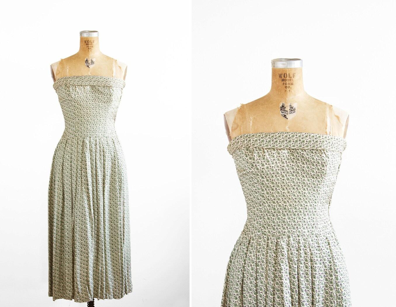 1950s Dress 50s Dress Ceil Chapman Strapless Printed Dress