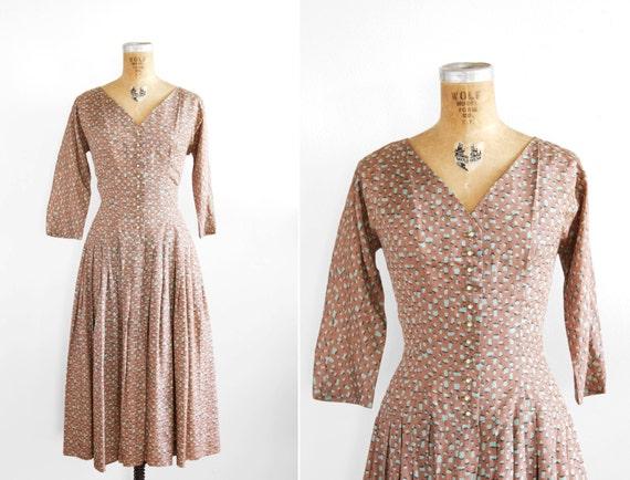 1950s Dress - 50s Dress - Fruit Print Party Dress