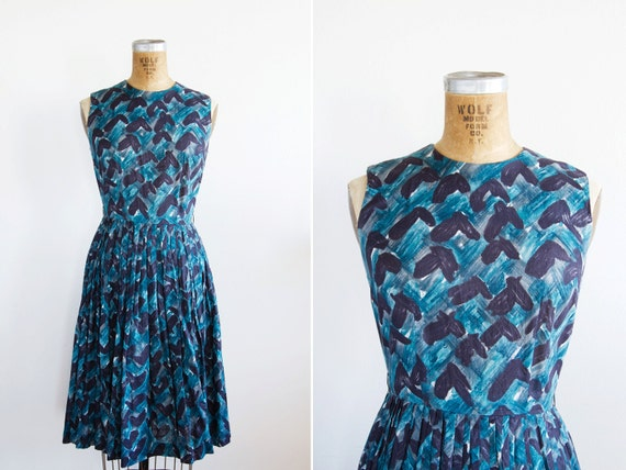 1950s Dress - 50s Dress - Blue Sleeveless Graphic