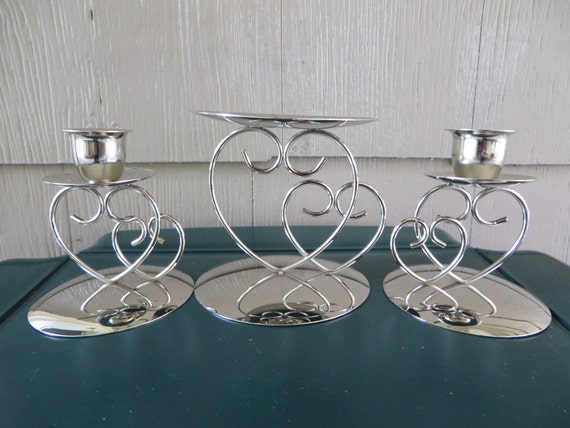 Silver Double Heart Unity Set Holder Candle Holders