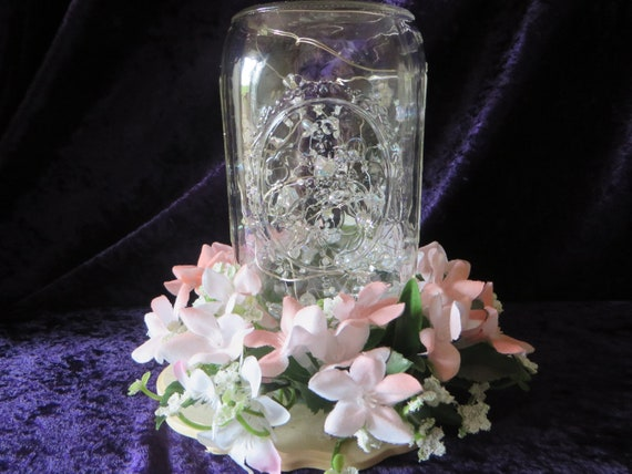 Astonishing Mason Jar Centerpiece Pink Flower Centerpiece Led Lights And Crystals Perfect Centerpiece For Country Wedding Download Free Architecture Designs Boapuretrmadebymaigaardcom