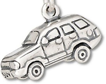 Sterling Silver SUV Car Charm Pendant  3D Vehicle Truck