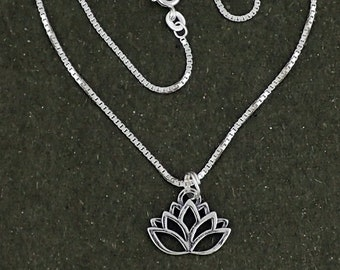 Lotus Flower Pendant Sterling Silver Necklace With Box Chain