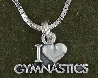Sterling SilverI Love Gymnastics Pendant Necklace Heart Charm With Box Chain