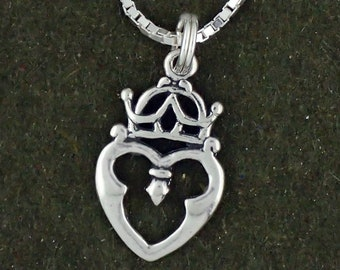 Sterling Silver Celtic Luckenbooth Pendant Necklace Heart With Crown With Box Chain