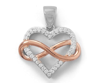 Two Tone CZ Infinity Heart Pendant 925 Sterling Silver Charm Valentine Wedding