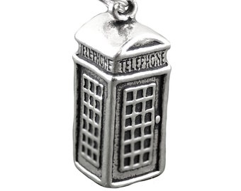 British Telephone Booth Charm Sterling Silver Pendant 3D Pay Phone