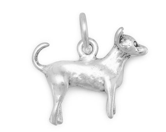Chihuahua Dog Charm Sterling Silver Pendant 3d Animal Pet Doggie