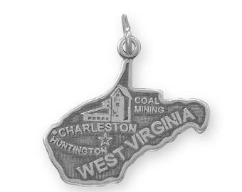 Sterling Silver West Virginia State Charm America Travel Mountain Charleston