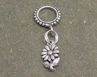 Dangle Flower Charm Bead Sterling Silver Pendant Daisy Sunflower