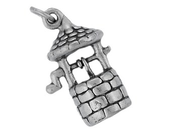 Sterling Silver Wishing Well Charm Pendant 3D Good Luck Wish Garden