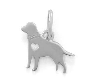 Rhodium Plated Sterling Silver Heart Retriever Dog Charm Animal Pet Pendant