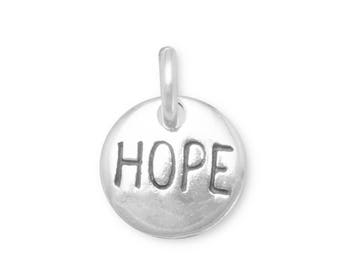 Sterling Silver Hope Charm Round Disc Word