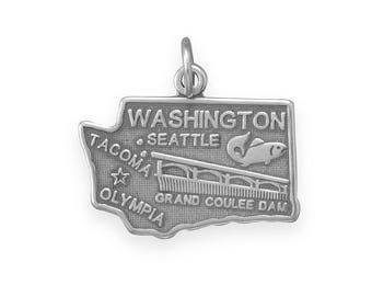 Sterling Silver Washington State Charm America Evergreen Fish Tacoma Seattle