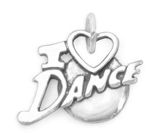 I Love Dance Charm 925 Sterling Silver Pendant Music Dancer Heart