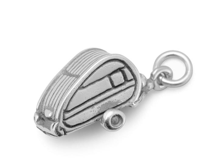 Featured listing image: Sterling Silver Teardrop Travel Trailer Charm Pendant 3d Vintage Style RV