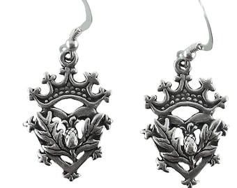 Sterling Silver Thistle Earrings Luckenbooth Scottish Scotland