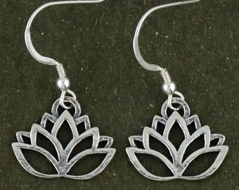Sterling Silver Lotus Flower Earrings Dangles With French Hooks