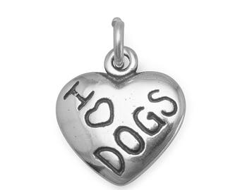 I Love Dogs Heart Charm 925 Sterling Silver Pendant Puppy Dog Pet Animal