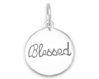 Blessed Charm Rhodium Plated 925 Sterling Silver Pendant religious round disc