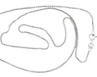 "Box Chain Sterling Silver 1.1mm width 16"", 18"", 20"", 24"" Lengths"