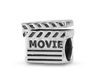 Movie Director Clap Board Charm Bead Sterling Silver