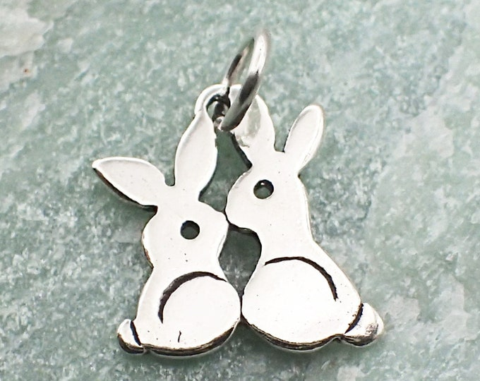 Featured listing image: Bunny Charm Sterling Silver Pendant Kissing Rabbits Animal Easter Cottontail