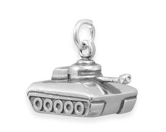 Military Tank Charm 925 Sterling Silver Pendant Army Soldier Weapon
