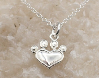 Heart Paw Print Necklace Sterling Silver Dainty Heart Charm PawPrint Pendant Cable Chain