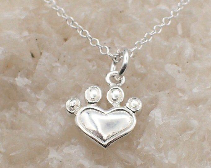 Featured listing image: Heart Paw Print Necklace Sterling Silver Dainty Heart Charm PawPrint Pendant Cable Chain