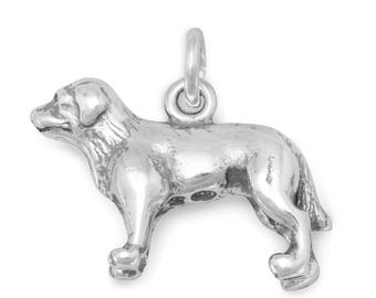 Labrador Retriever Charm Sterling Silver Pendant Standing Dog Lab 3D  Animal Pet