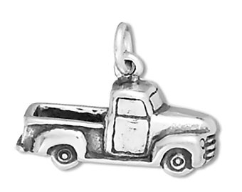50's Pickup Truck Charm Sterling Silver Pendant 3D Transportation Car Automobile