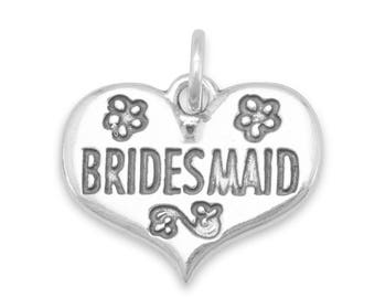 Bridesmaid Wedding Charm 925 Sterling Silver Pendant Flower Bride Heart