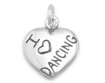 I Love Dancing Heart Charm 925 Sterling Silver Pendant Dancer