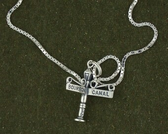 Sterling Silver Bourbon & Canal Street Sign Pendant Necklace New Orleans Charm With Box Chain