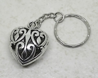 Puffy Filigree Heart KEYCHAIN Pewter with Antique Silver Tone Finish Key Holder Purse Accessory