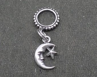Dangle Crescent Moon Charm Bead Sterling Silver Pendant Star Celestial