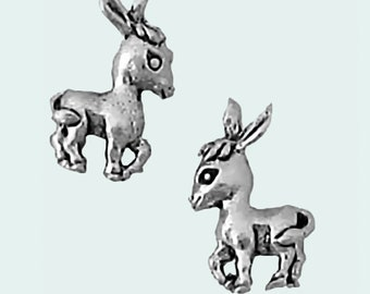 Donkey Earrings Sterling Silver Posts Studs Tiny Mini Burro Animal